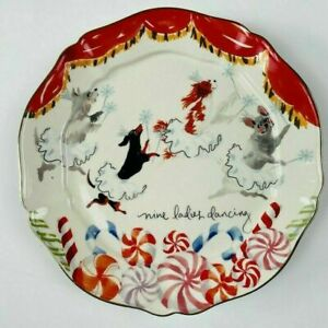 NEW Anthropologie Inslee Fariss 12 Days of Christmas Plate #9 Ladies Dancing ONE