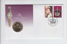 2003 CORONATION GOLDEN JUBILEE 50 Cent Coin & Stamp Set PNC FDC