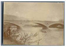France, Grenoble, Pont de l'Ile Vert  Vintage citrate print Tirage citrat