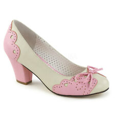 Pin Up Couture WIGGLE-17 Women's Cream Pink Faux Leather Medium Heel Shoe Pumps