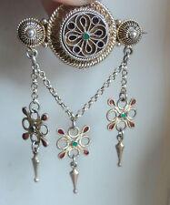 Norwegian Silver Gilt & Enamel Solje / Wedding Brooch 1920s Marius Hammer Norway