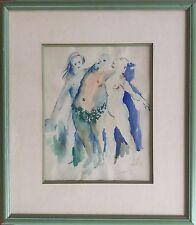 Jean CHARNOTET 1930-1978.Bacchus et 2 bacchantes.Aquarelle.24x19.SBD.1955.Cadre.