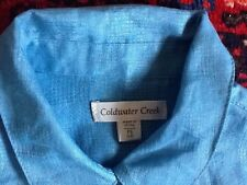 NEW tags COLDWATER CREEK blouse LINEN SHIRT blue SIZE S petite Rolled sleeve