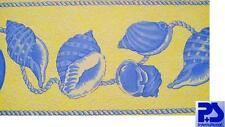 09020-20) 1 Rolle hochwertigsteTapeten Bordüre Muschel Desing Gelb blau schick