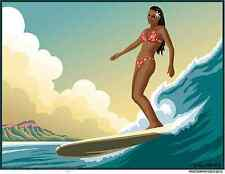 Hawaiian Surfer Girl Sticker Decal Artist Almera MA61