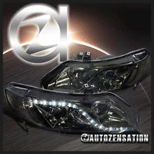 Fits 2006-2011 Honda Civic 4Dr Sedan Smoke R8 LED DRL Projector Headlights Pair