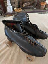 Vintage Men's Union Hardware Roller Skates, Sz 10, Brown Leather Wood Wheels