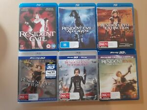 Resident Evil Movies 1 to 6 Set Inc 3d Versions As New