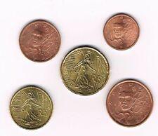 France 5 pieces coins 2010, 1 cent 2 cents 5 cents 10 cents 20 cents d'euro TTB