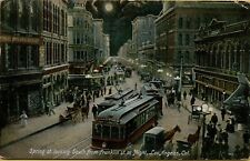 1907 Spring Street View at Night Moon Trolley Buggy Los Angeles CA Postcard A19