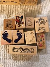 Lot Of 9 Rubber stamps, Various Pictures Pictures For Small Children