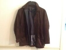 Nautica Brown Leather Suede Jacket Men's Medium Irregular Coat Gently used
