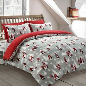 Xmas Teddy Bear Penguins Duvet Cover Set Fleece Thermal Cosy Quilt Cover Bed Set