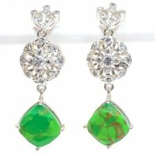 Copper Green Turquoise 925 Sterling Silver Jewelry Earring 2.05 8247