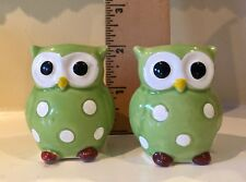 Vintage Green Owl with Polka Dots Salt & Pepper Shakers