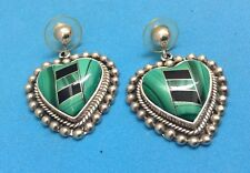 Earrings Inlayed With Malachite And Onyx Taxco 925 Sterling Silver Heart Shape