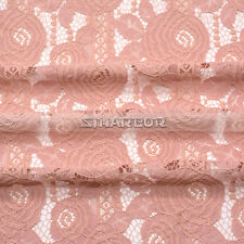 Powder Pink Flower Crochet Guipure Nylon Cotton Wedding Bridal Lace Fabric 1Yard
