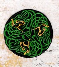 Celtic knot work 3 Horses in green patch Iron to Sew on Badge