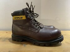 QUALITY CATERPILLAR HOLTON SB Brown Leather STEEL TOE Safety Boots SIZE UK 8 CAT