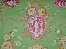 SCALAMANDRE NEOCLASSICAL CAMEO ARABESQUE TOILE FABRIC 14 YARDS GREEN CORAL ROSE