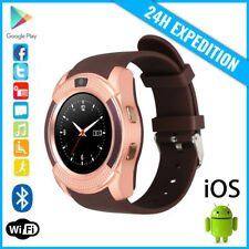 Original V8 Smart Watch Montre Horloge Bluetooth Android iOS Brown