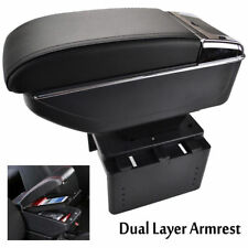 Armrest PU Leather Center Console Storage Box Support Arm Rest Tray Black