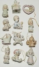 Lot Of 12 Enesco Precious Moments Ceramic  Christmas Ornaments  1980s & 90's