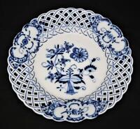 "Carl Teichert Meissen BLUE ONION Reticulated Pierced Salad Plate, 8 3/8"" Across"