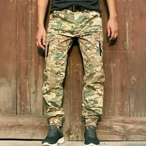 Men Tactical Jogger Military Camouflage Cargo Pants Work Trousers Streetwear