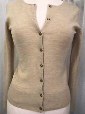 Adrienne Vittadini Tan 100% Wool Button Front Cardigan Sweater Size Small