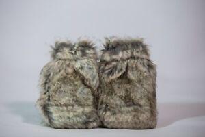 Pack Of 2 Faux Fur Reusable Hand Warmer Winter Warmer Hot Water Bottle New