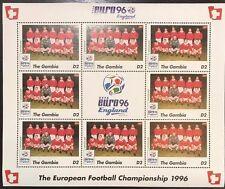 Gambia '96 Euro England Football Championship Stamp- Switzerland Sheetlet of 9