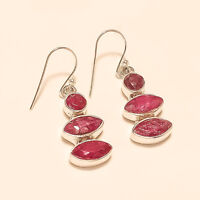 Natural African Red Ruby Earrings 925 Sterling Silver Wedding Fine Jewelry Gifts