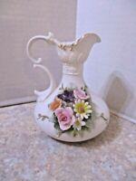 Vintage Lefton China KW4196 Bud Vase/ Small Pitcher Raised Flowers Bone China