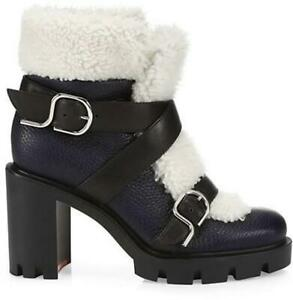 Christian Louboutin POLE CHIC 70 Shearling Fur Buckled Booties Heels Boots $1795