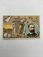 Victorian Trade Card Clarks Mile End Spool Cotton Pres Carnot France -1887 As Is