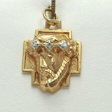 Thorns Cross Charm Pendant 2.8 gr 14K Gold Diamond Jesus Crown of