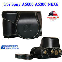 Leather Camera Bag Case Cover Pouch For Sony A6000 A6300 NEX6 Compact