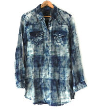 True Religion Tunic Top Long Sleeve 1/2 Button Down Pull Over Tie-Dye Size XS