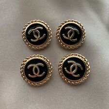 Set of 4 Chanel Buttons 20mm, Black Enamel, Stamped