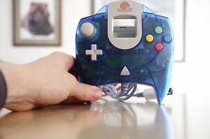 OFFICIAL Sega Dreamcast Translucent Clear Blue Controller HKT-7700 Tested NICE!