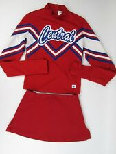 "Central Cheerleader Uniform Teen Size 32"" Top 25 Skirt Red White Blue Patriotic"