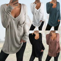 Womens V-Neck Stretch Blouse Tops T-Shirt Ladies Casual Loose Pocket Blouse Tops