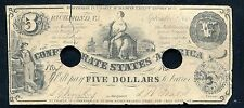 1861 $5 Five Dollars Csa Confederate States Of America