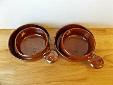 Robert Weiss Ceramic Soup Cracker Bowl Brown Glazed Stoneware RWC 1012 set of 2