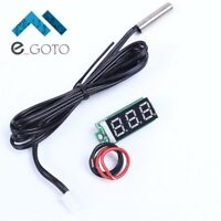 Red Digital Display Thermometer 4-28V DC Inch 0.28 Probe Waterproof Metal NTC
