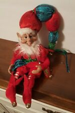 """Elf Jester Pixie 14"""" Bendable Poseable Red Blue Sequins Christmas Wreath NEW"""