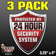 3 Pack RED Protected By 24 Hour Security System SHIELD Sticker Vinyl Decal FS041