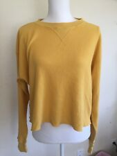 New! Brandy Melville deep yellow Waffle print  long sleeve Laila thermal top NWT