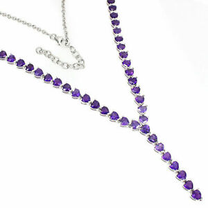 Necklace Purple Amethyst Genuine Gems Sterling Silver Heart Cut 18 1/2 to 21 1/4